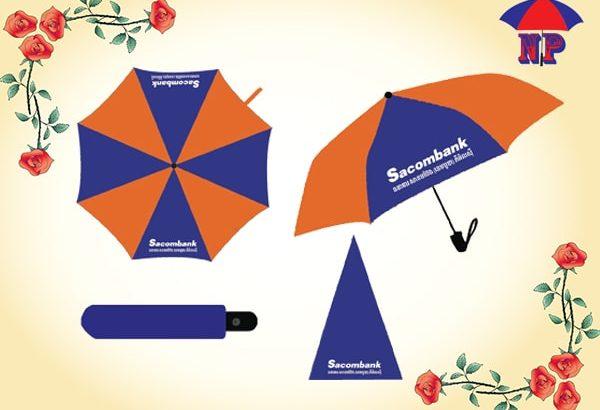 Sản xuất ô dù cầm tay gấp 3 in logo quảng cáo